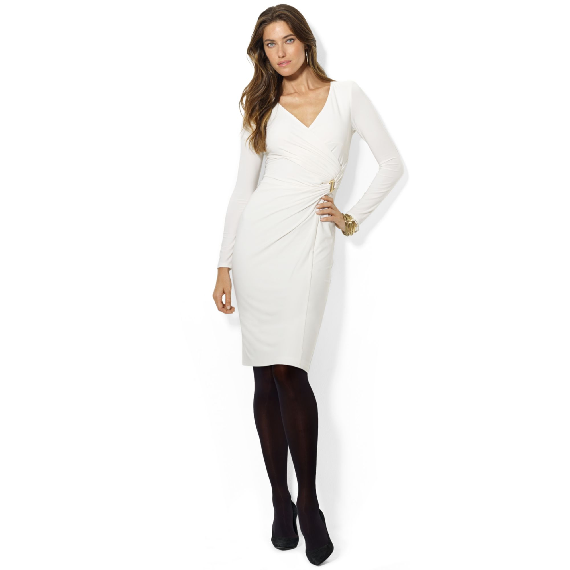 Lauren ralph lauren buckle long sleeve sweater dress