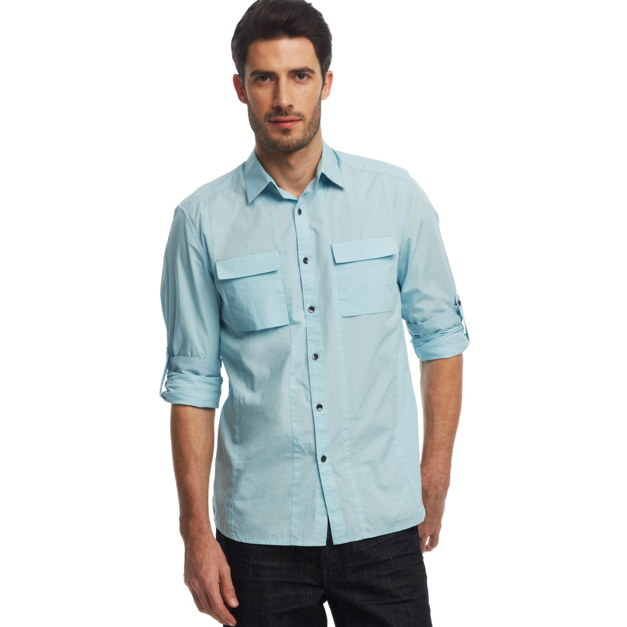 Kenneth Cole Reaction Novelty Rolltab Sleeve Shirt In Blue