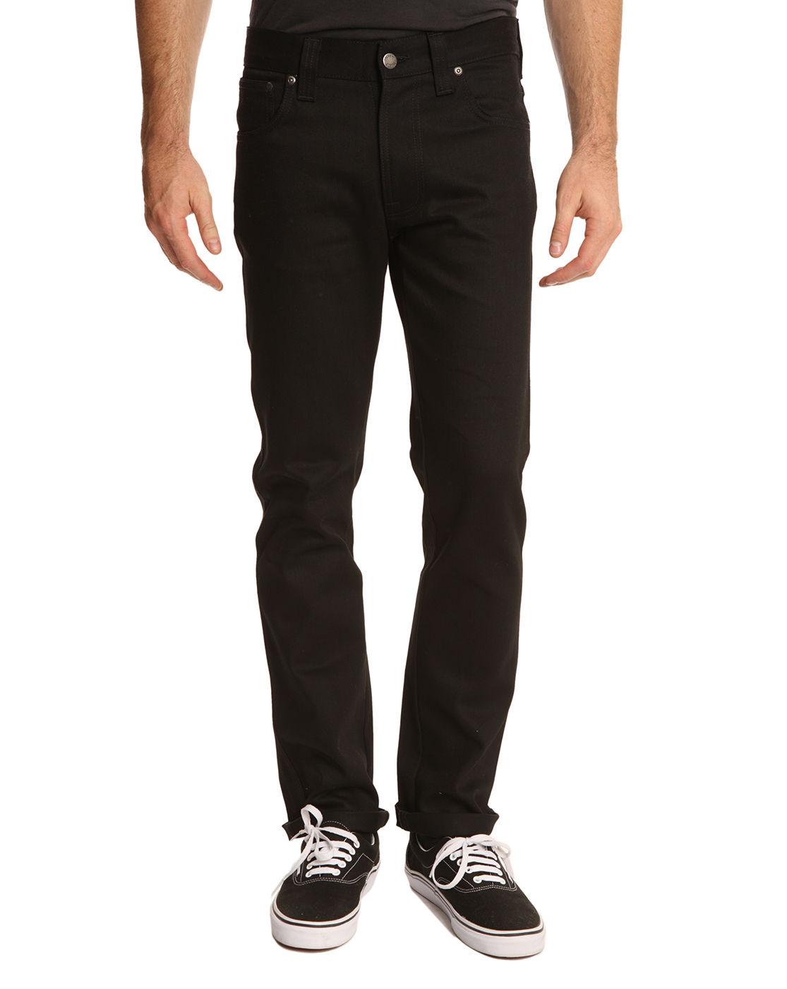 nudie jeans black grim tim jeans in black for men lyst. Black Bedroom Furniture Sets. Home Design Ideas