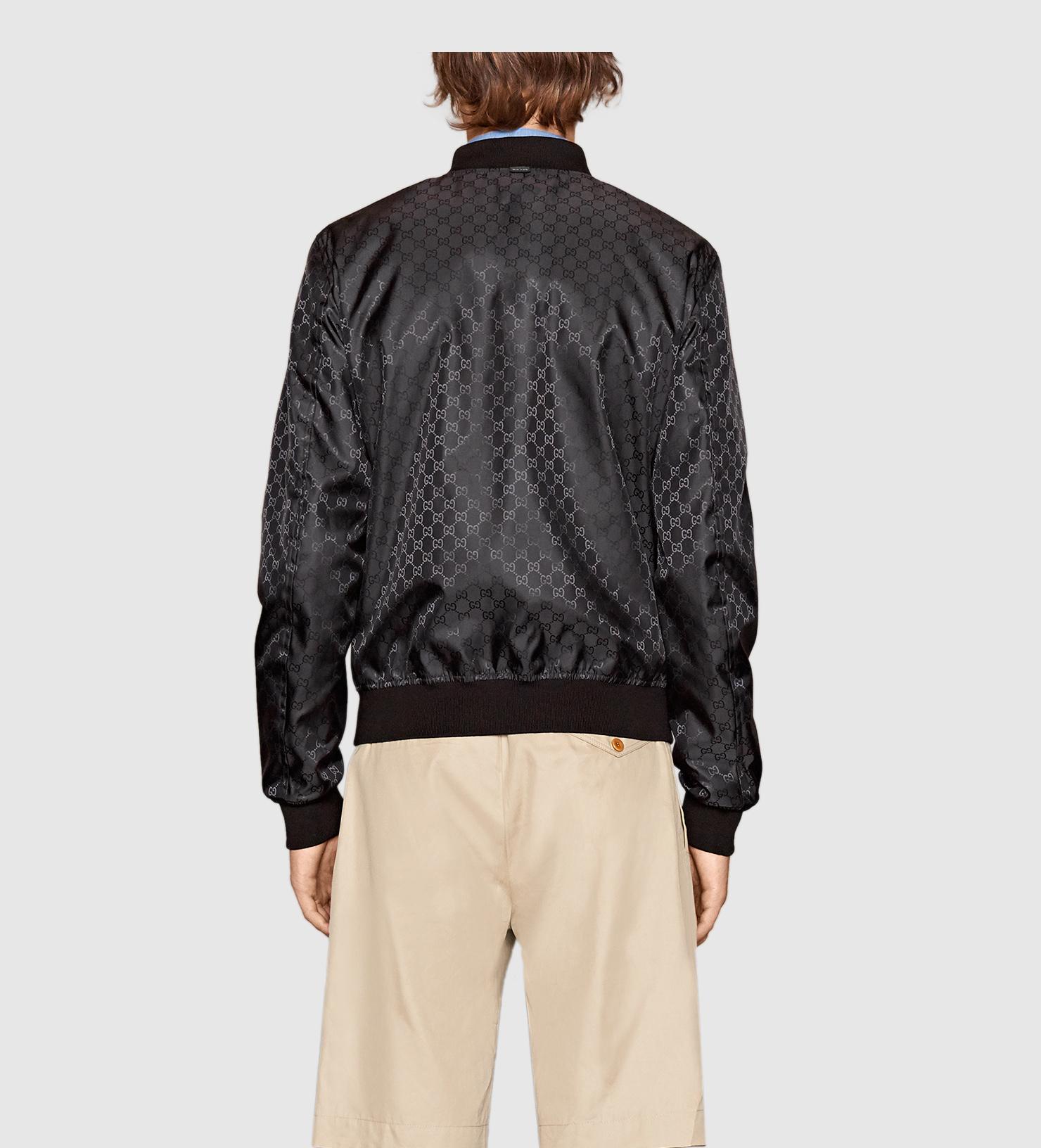 7986c3ebe3ac Gucci Reversible Gg Jacquard Nylon Bomber Jacket in Black for Men - Lyst