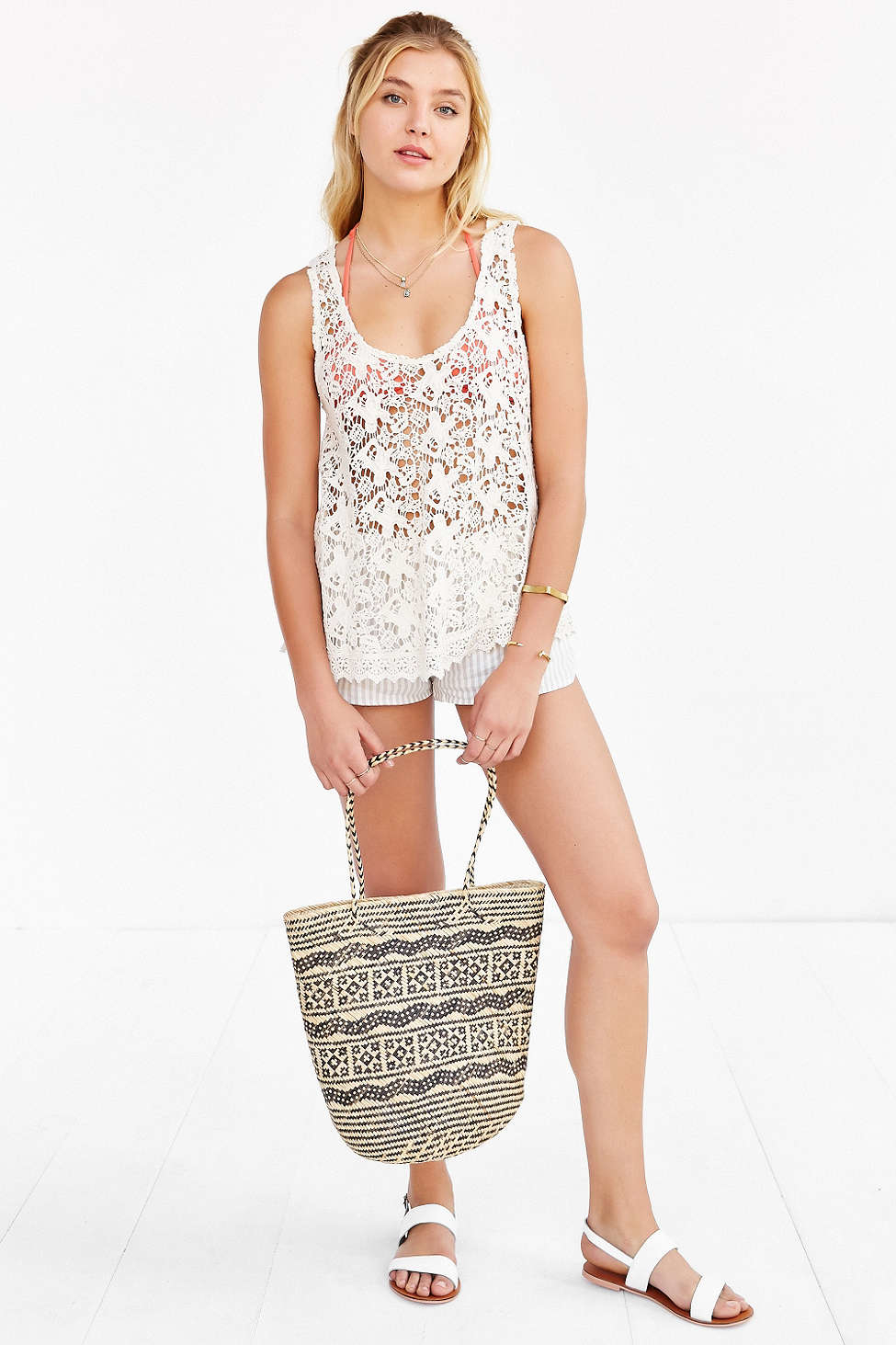 Ecote Daydreaming Crochet Tank Top in Natural | Lyst