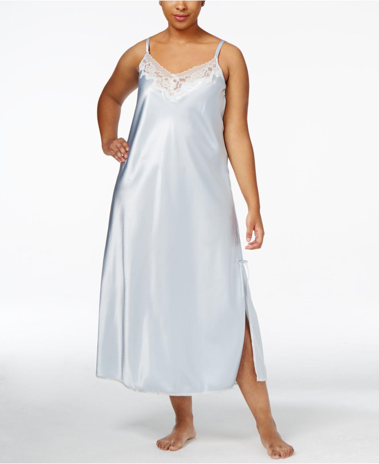 Oscar de la renta Plus Size Lace-trim Long Satin Nightgown ...