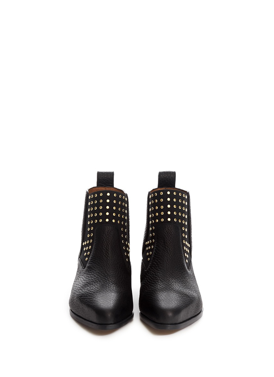 chlo 233 stud leather chelsea ankle boots in black lyst