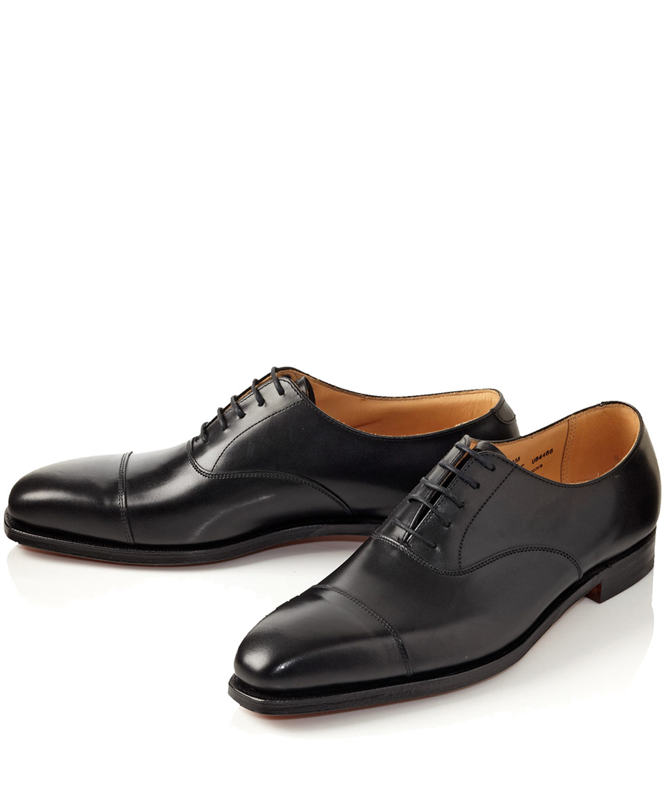 Crockett and jones Black Hallam Leather Oxford Shoes in ...