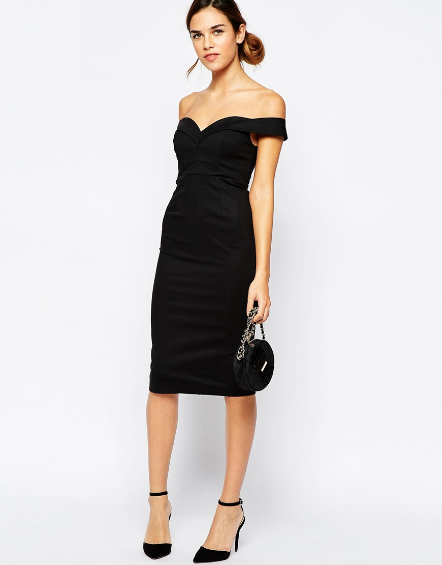 Lyst Bardot Sweetheart Off Shoulder Dress In Black
