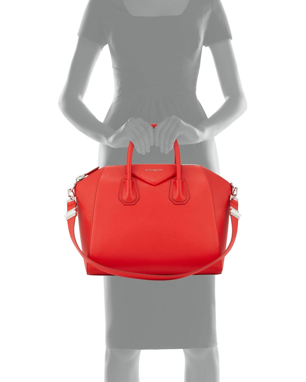1cc591ac8f Givenchy Antigona Medium Leather Satchel Bag in Red - Lyst