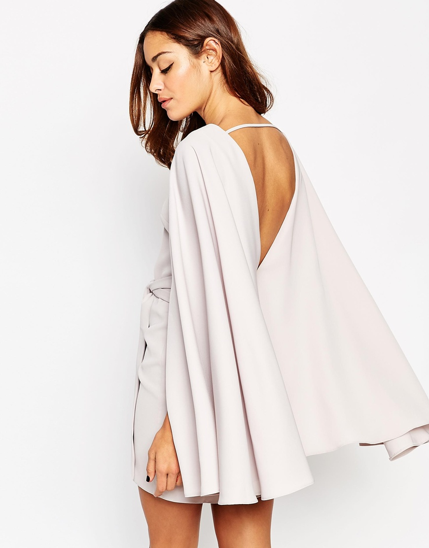 31210b7b1eb ASOS Extreme Cape Knot Front Mini Dress - Beige in Natural - Lyst