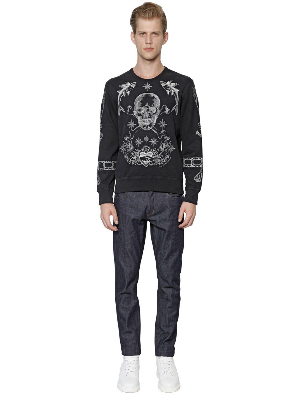 alexander mcqueen embroidered organic cotton sweatshirt in black for men lyst. Black Bedroom Furniture Sets. Home Design Ideas