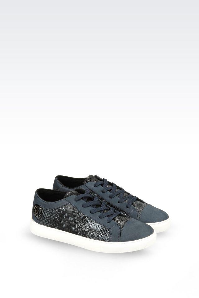 armani jeans sneaker in snakeskin print leather in blue lyst. Black Bedroom Furniture Sets. Home Design Ideas