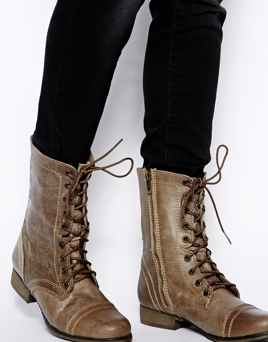 Steve madden Troopa Stone Lace Up Boots in Brown | Lyst