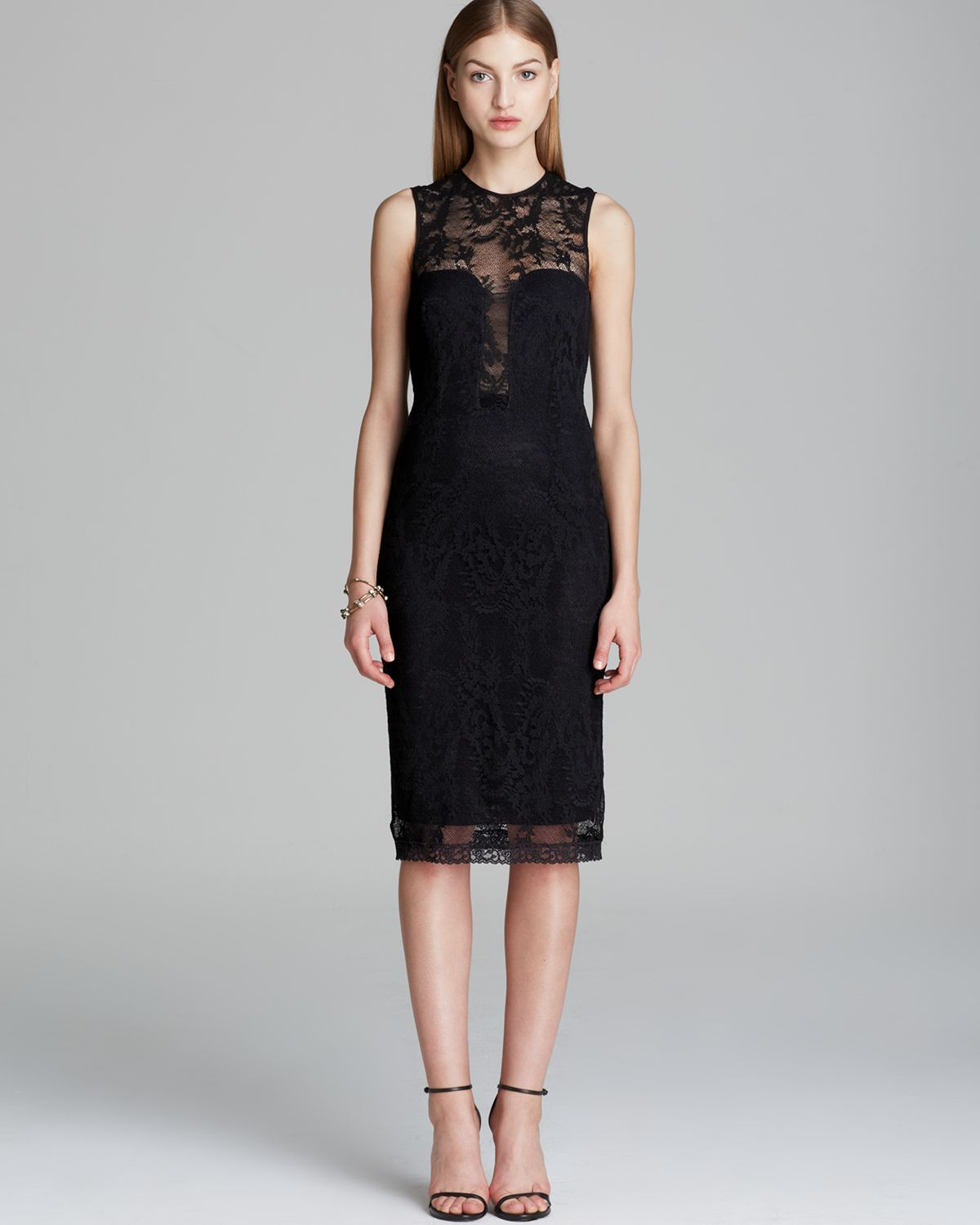 Nicole miller Dress Illusion Stretch Floral Lace in Black | Lyst