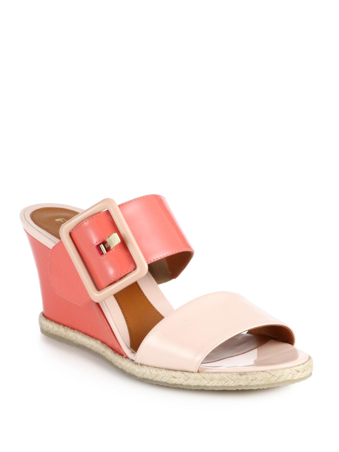 Fendi Leather Slingback Wedge Sandals clearance fast delivery sale online shopping pay with visa online 3CEcG0GLp