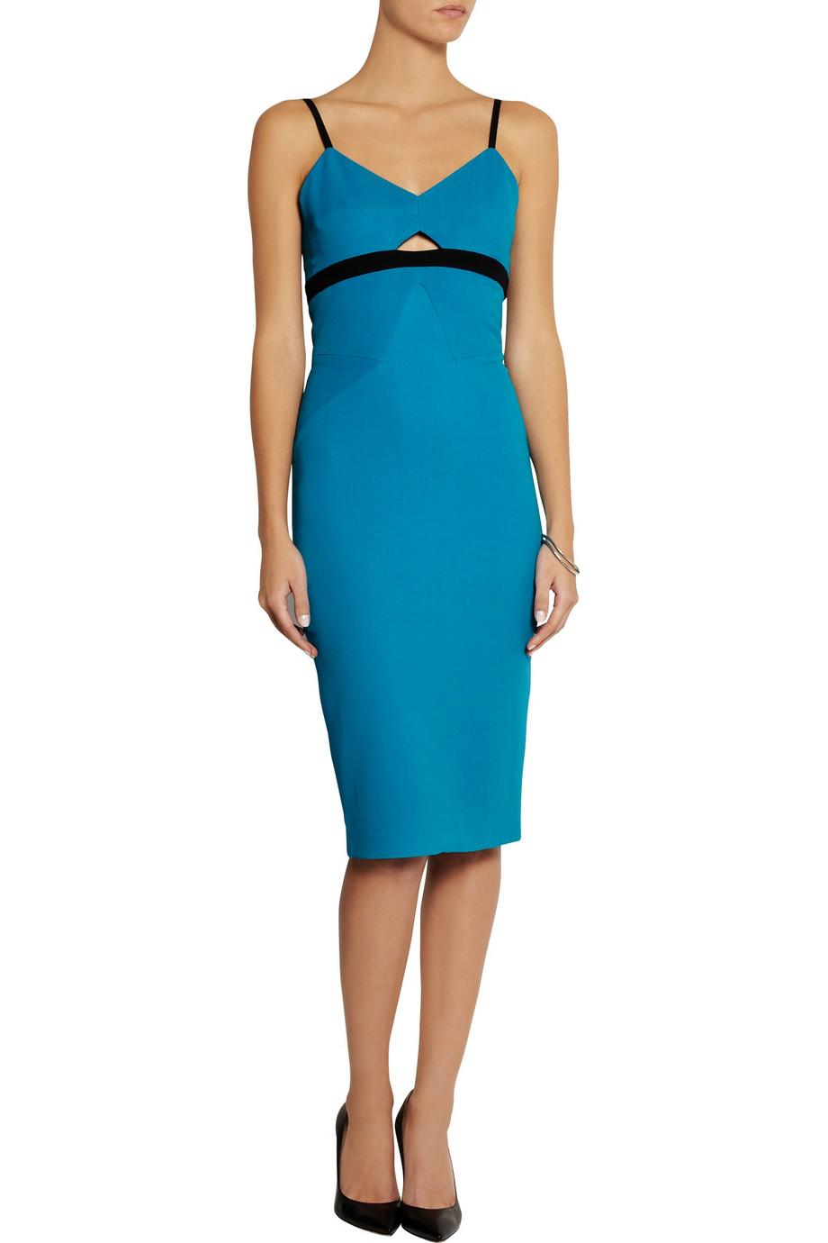 Lyst Victoria Beckham Crepe Dress In Blue