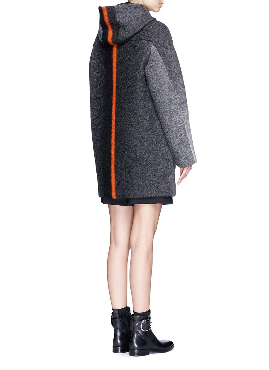 T by alexander wang Horizon Stripe Hooded Felted Wool Coat in Gray