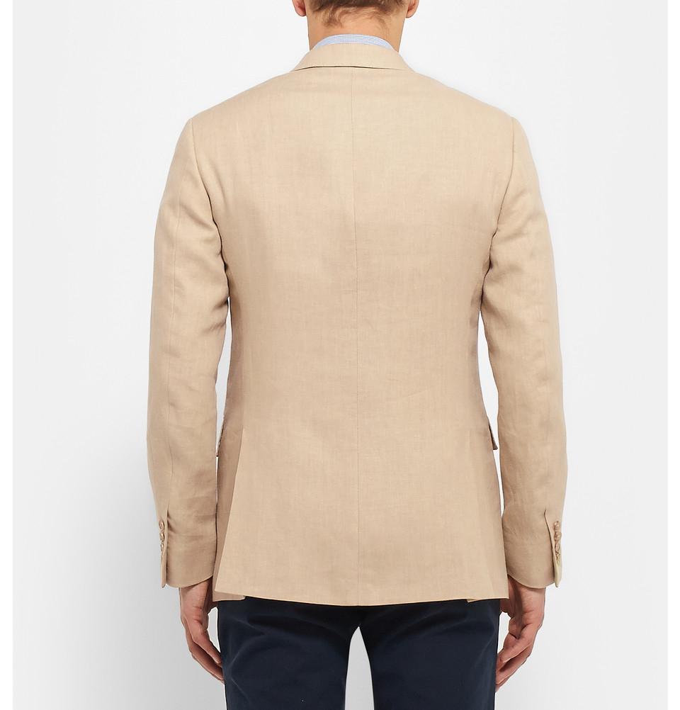 polo ralph lauren sand slim fit linen blazer in beige for. Black Bedroom Furniture Sets. Home Design Ideas