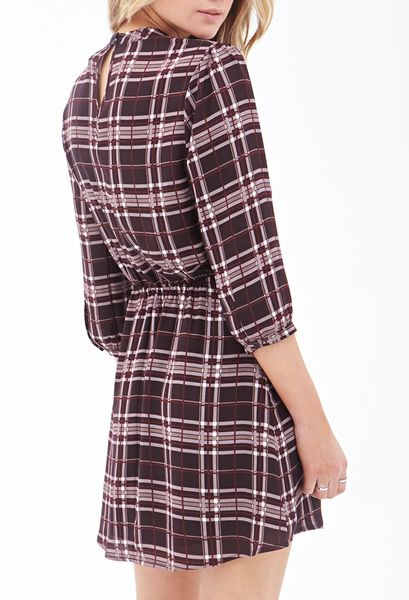 Forever 21 Plaid Fit Amp Flare Dress In Purple Burgundy