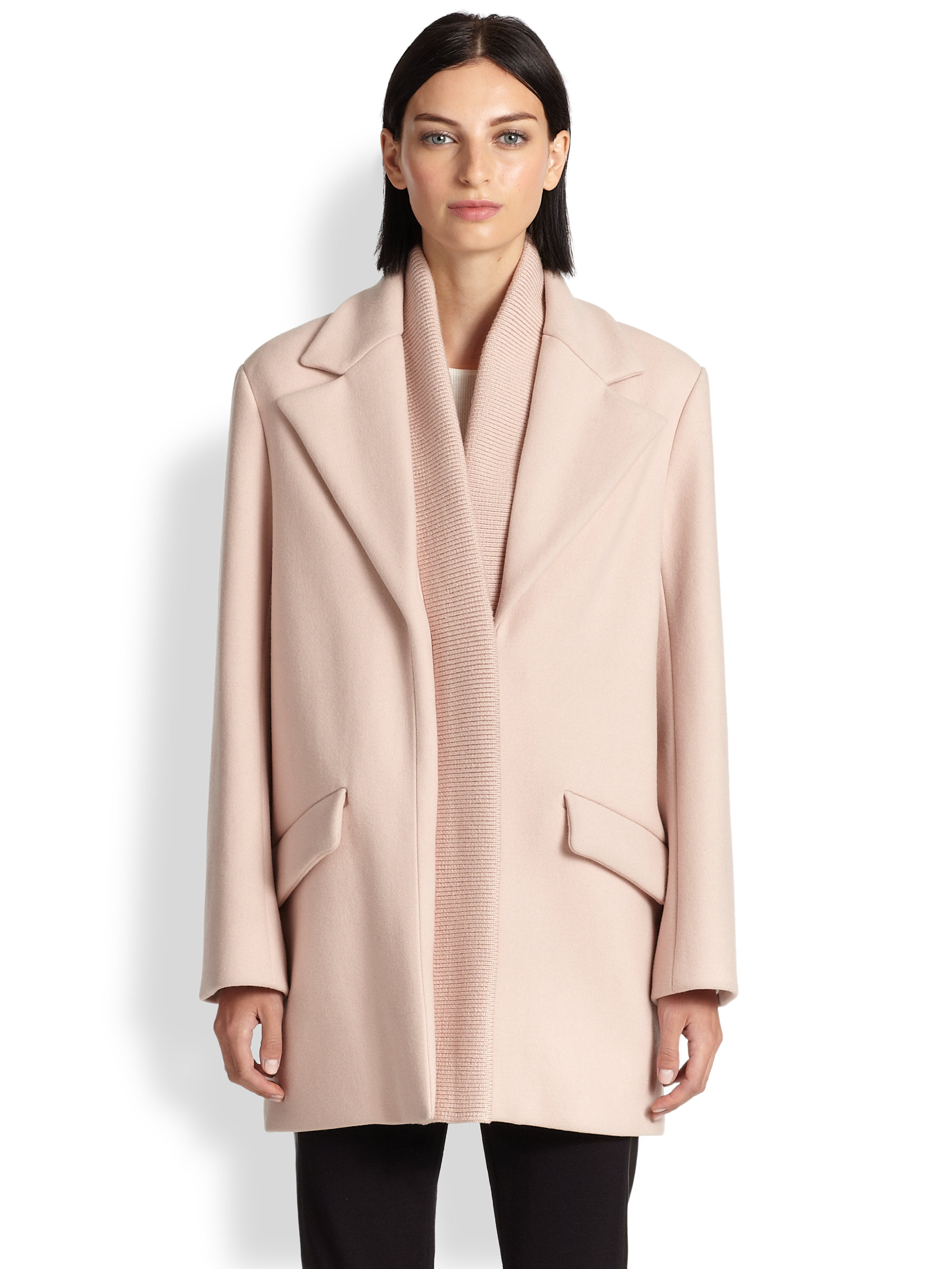 Thakoon Ribbed-Detail Wool Coat in Pink | Lyst