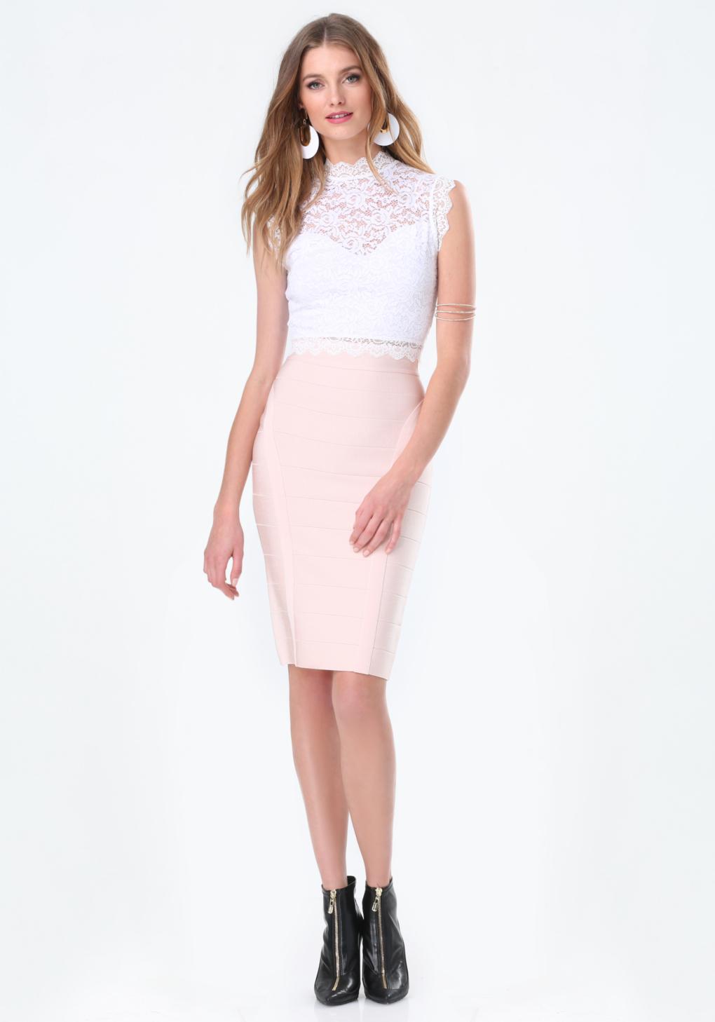 bebe bandage midi skirt in pink lyst