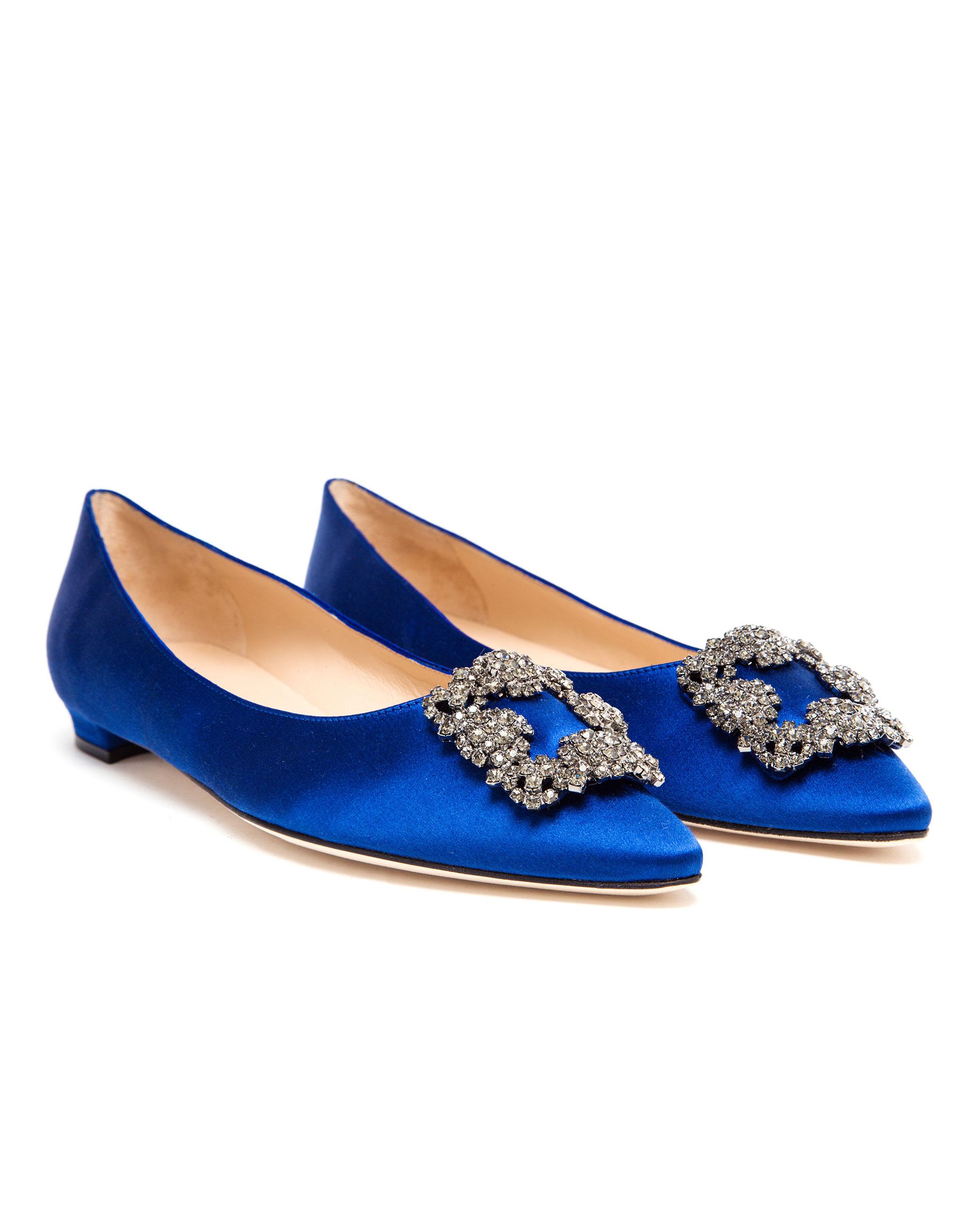 60b4b495d92e free shipping manolo blahnik ballerina shoes fc300 f034d  50% off manolo  blahnik hangisi embellished satin flats in blue lyst 790e3 f645c