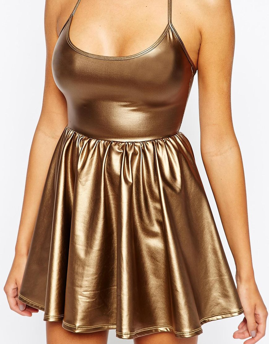 American Apparel Metallic Skater Dress In Metallic Lyst