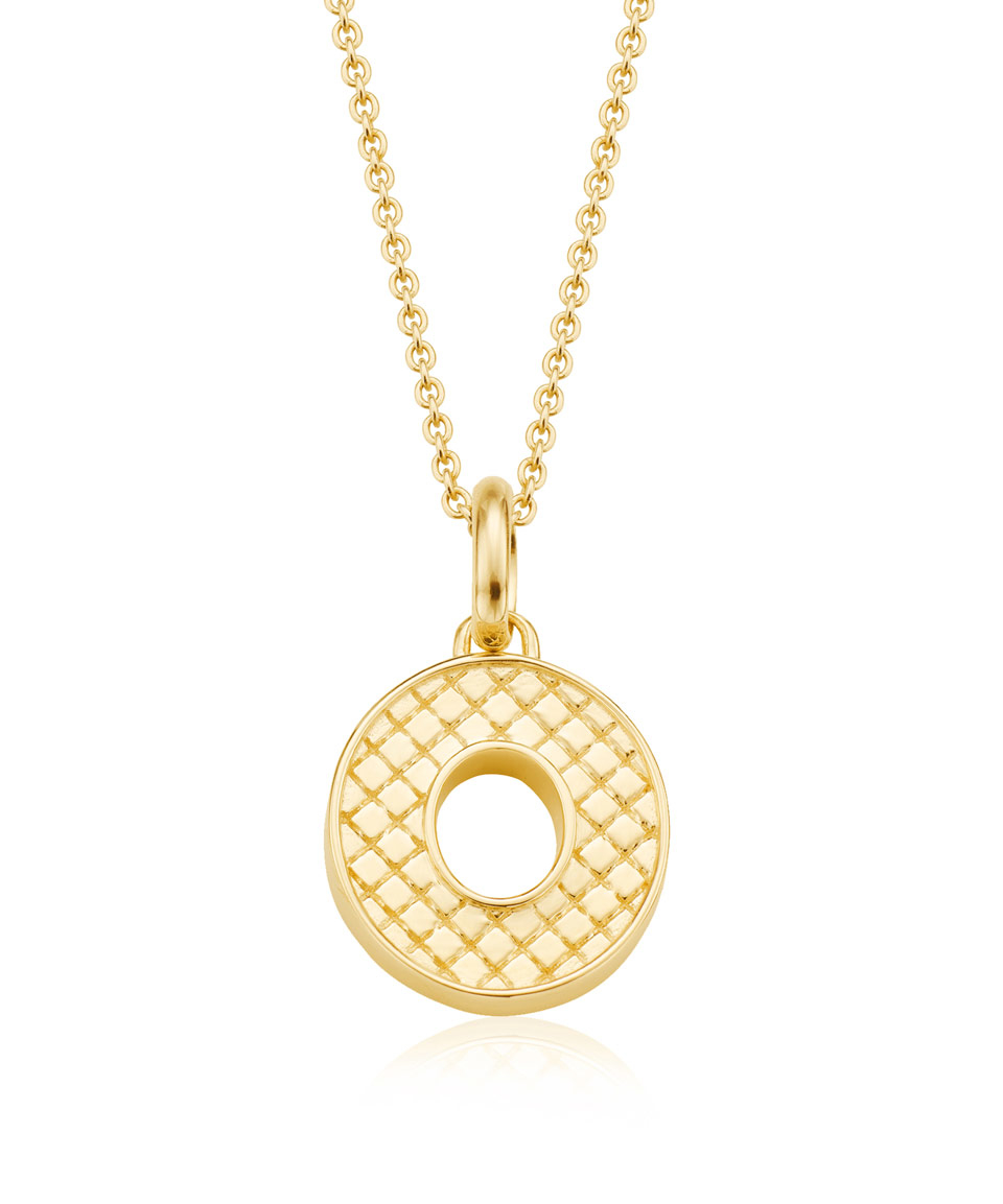 Alphabet Jewelry: Monica Vinader Gold-plated Alphabet Pendant O In Metallic