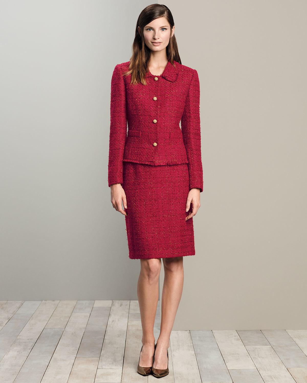Tahari Metallic Tweed Skirt Suit in Red | Lyst