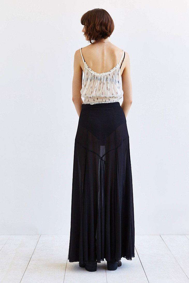 86003f0e9 Chiffon Maxi Skirt Black | Saddha