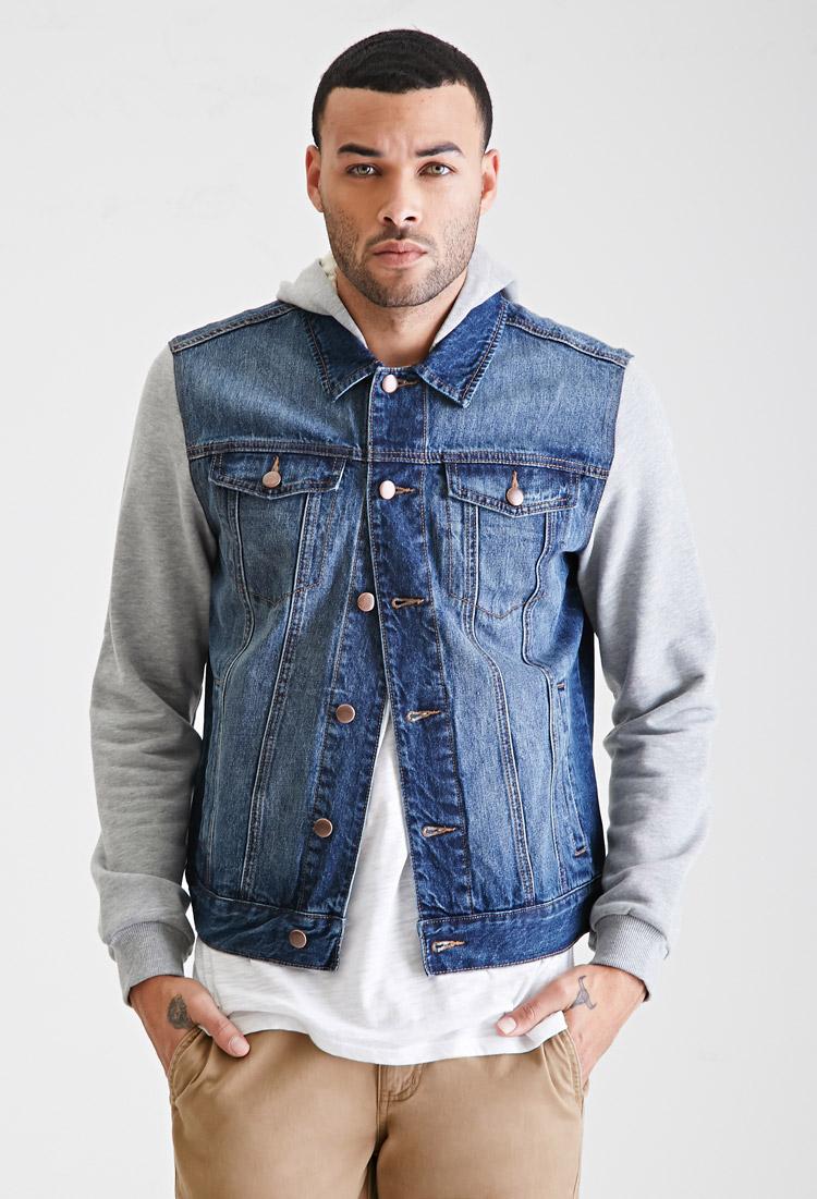 Mens jean jacket with hoodie