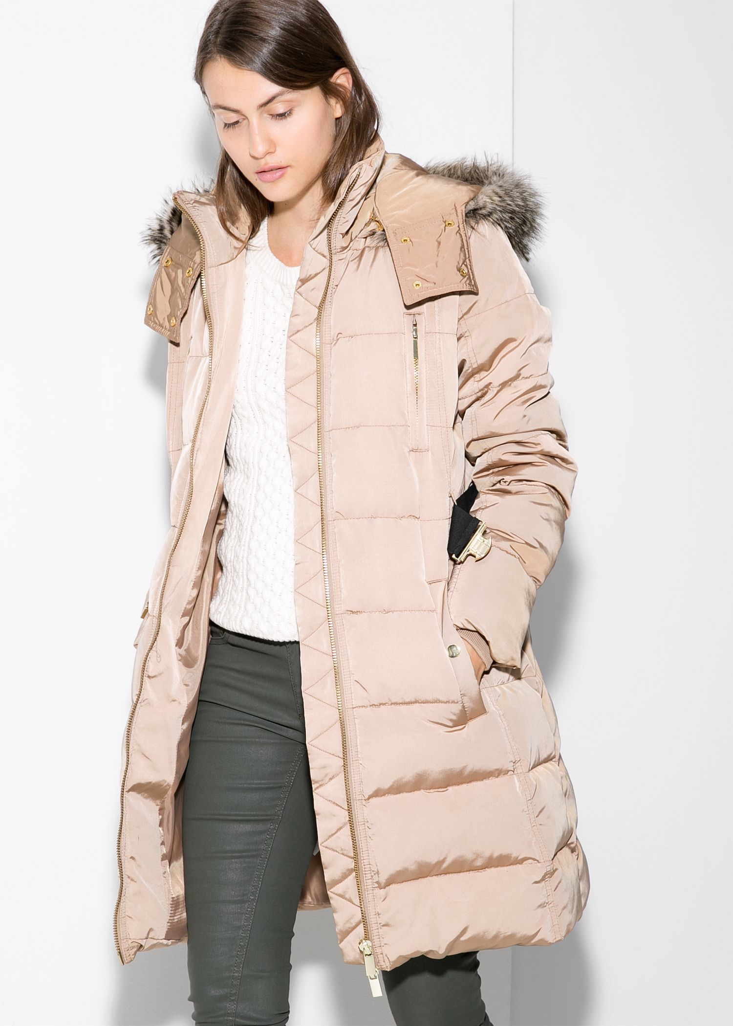 Mango Feather Down Long Coat in Natural | Lyst