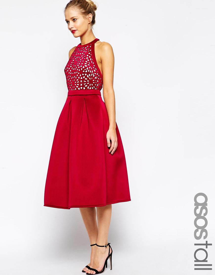 Asos Tall Premium Cutout Midi Skater Dress In Red  Lyst-9896