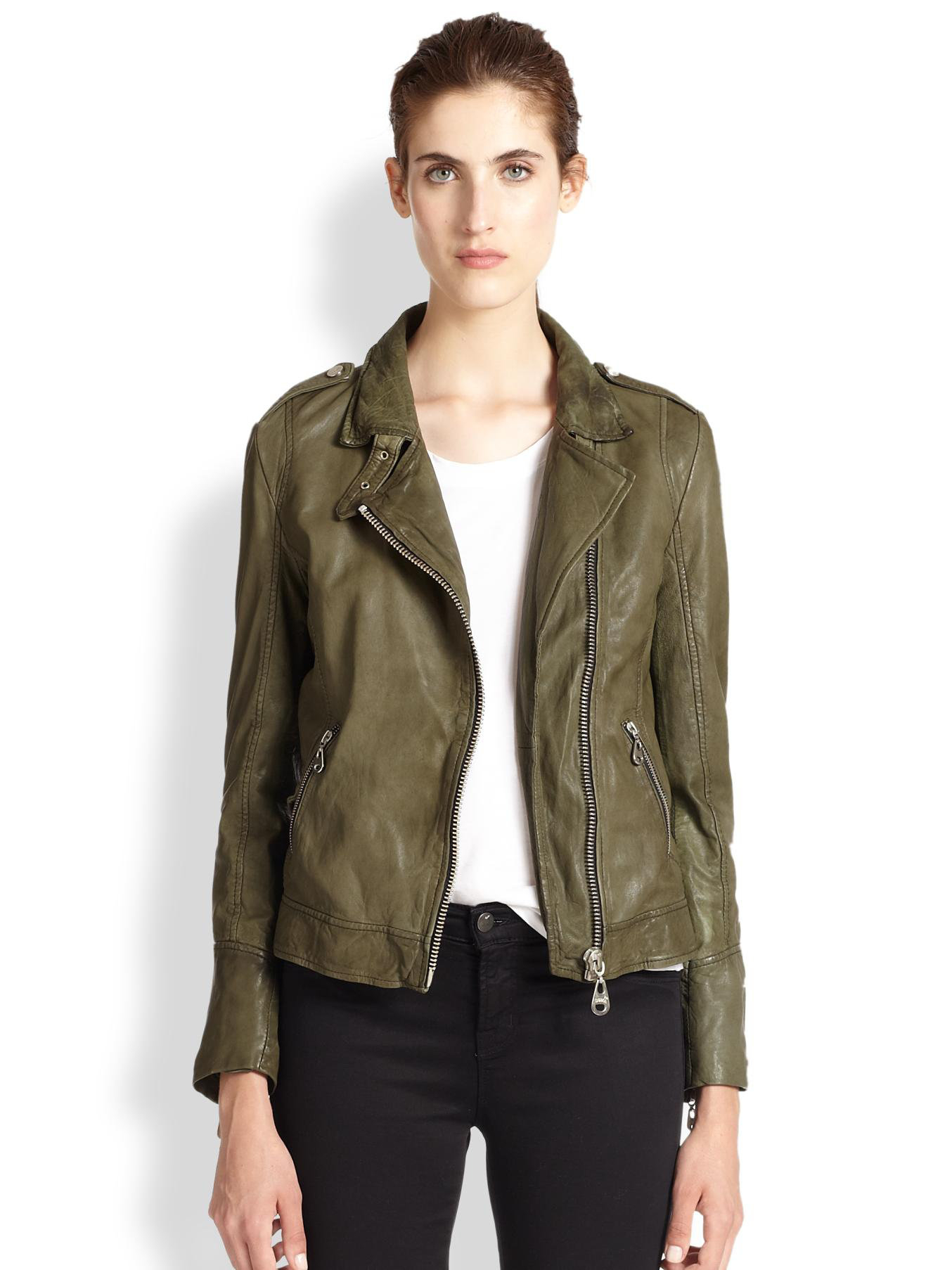 Doma leather Leather Moto Jacket in Green | Lyst