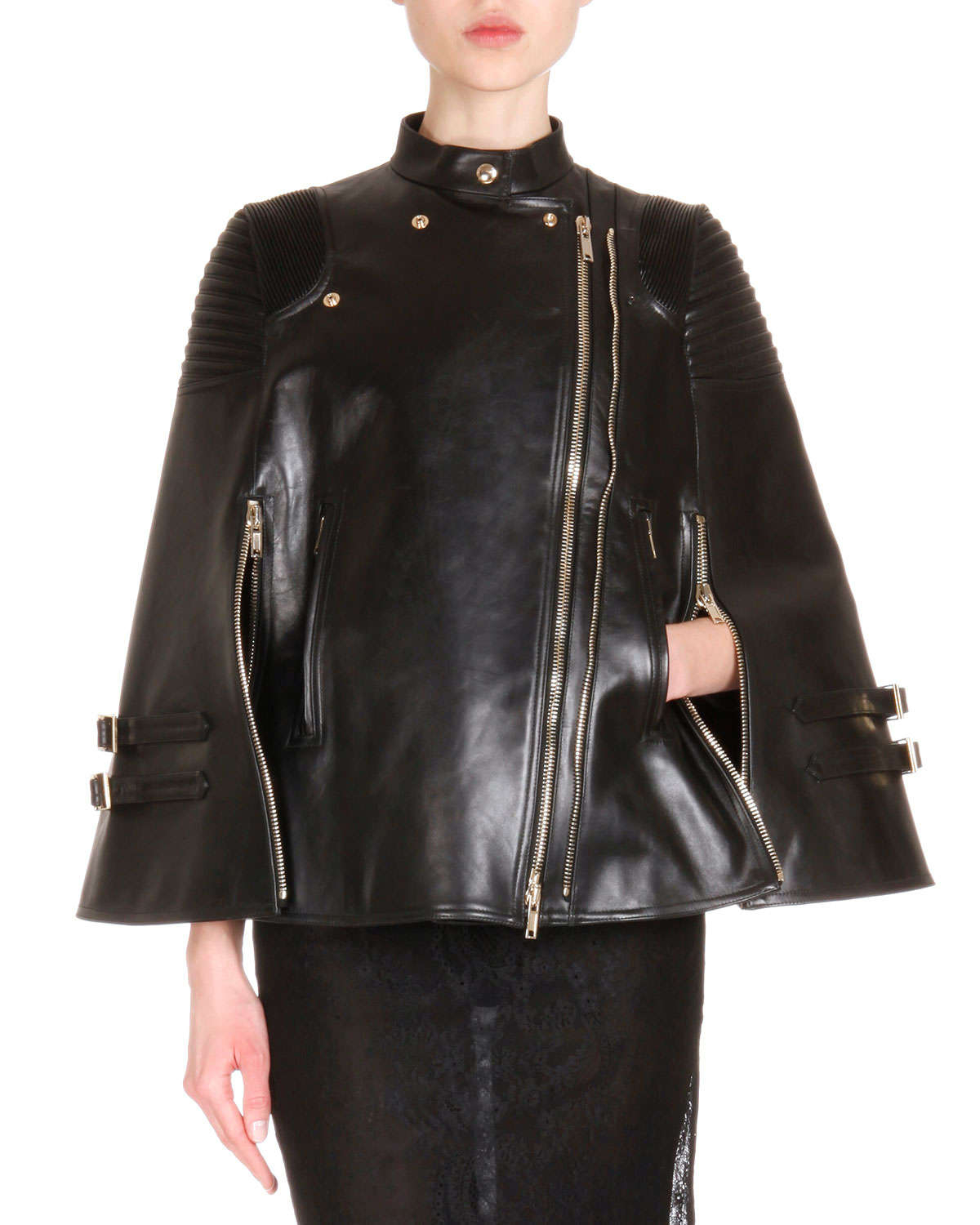 Givenchy Leather Asymmetric Zip Moto Cape In Black Lyst