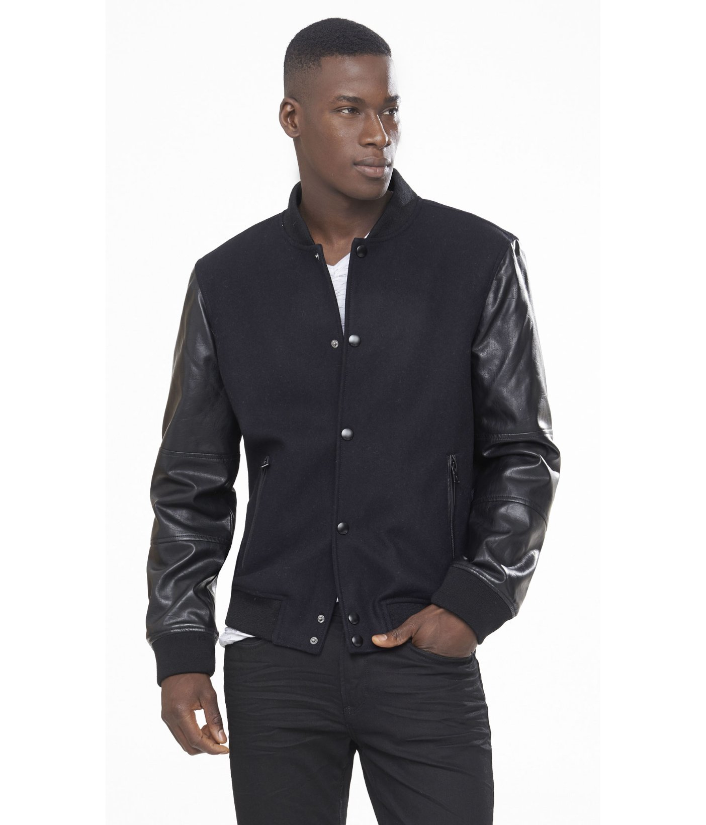Express (minus The) Leather Sleeve Baseball Jacket in Black for