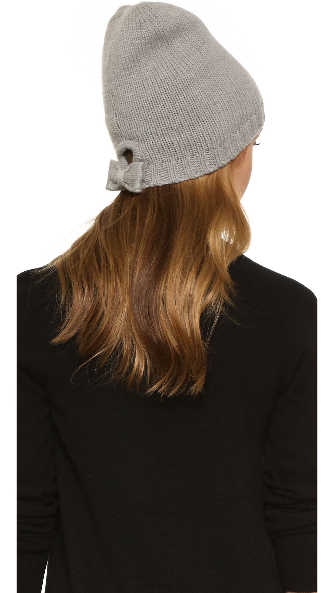 Kate Spade Gathered Bow Beanie in Gray - Lyst 94cf86b1d47