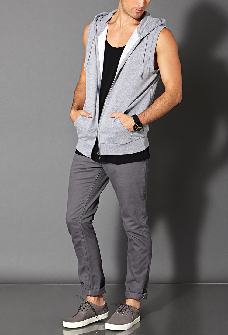Forever 21 Sleeveless Hoodie in Gray for Men | Lyst