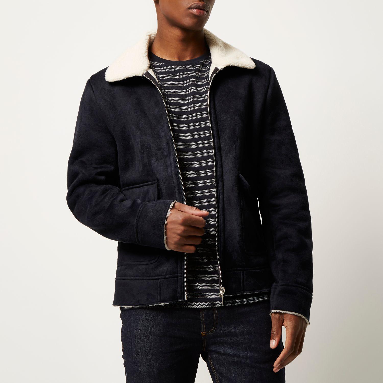 River island Dark Blue Shearling Collar Jacket in Blue for Men | Lyst