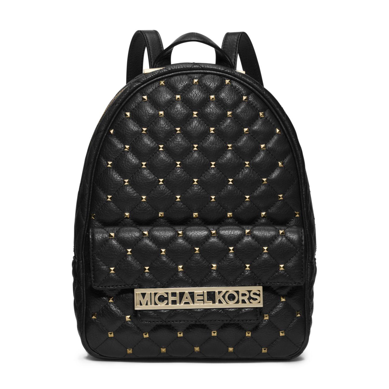 5a254b4b1023 Lyst - Michael Kors Kim Studded Leather Medium Backpack in Black