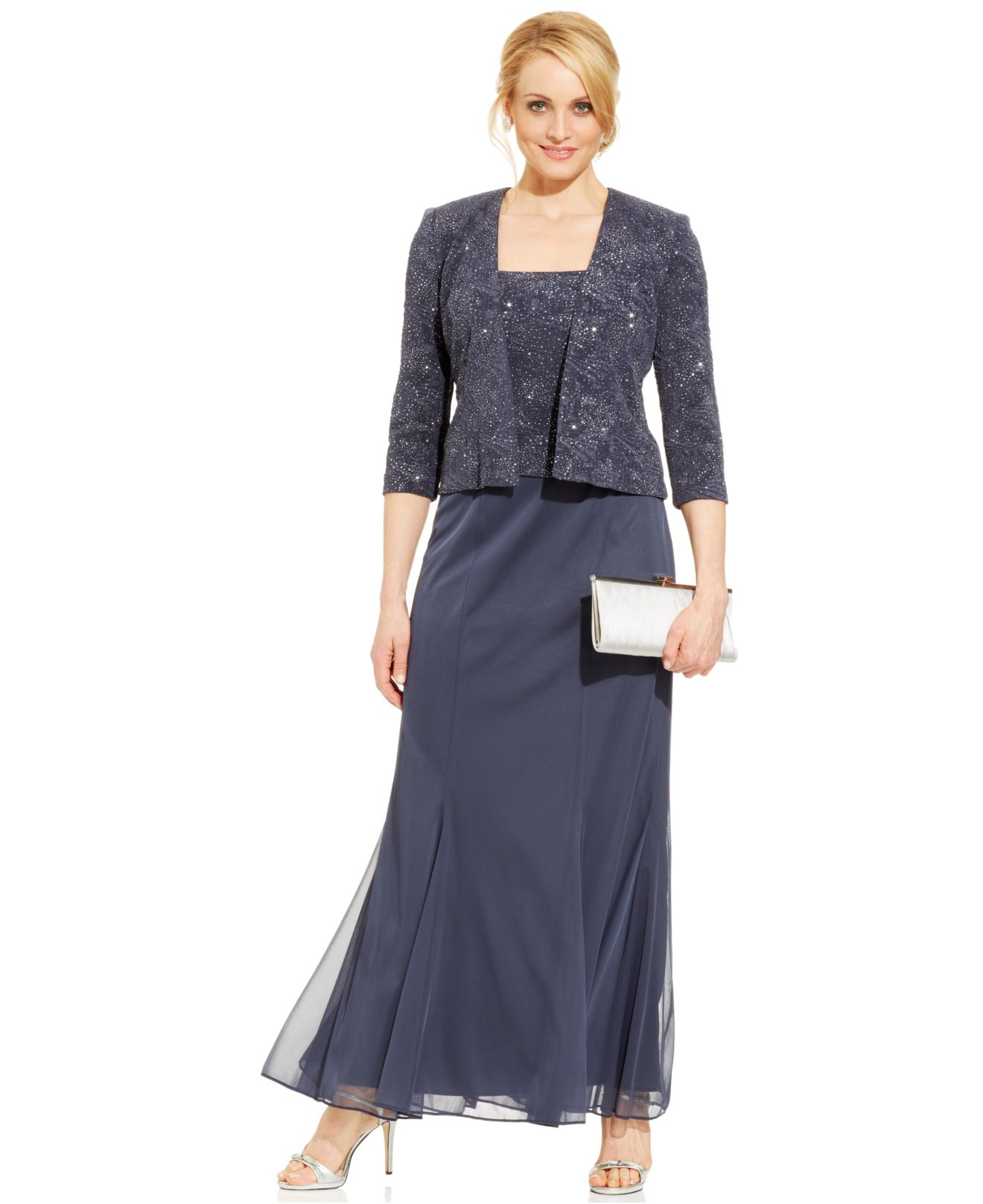 Lyst Alex Evenings Petite Sleeveless Glitter Gown And Jacket In Gray