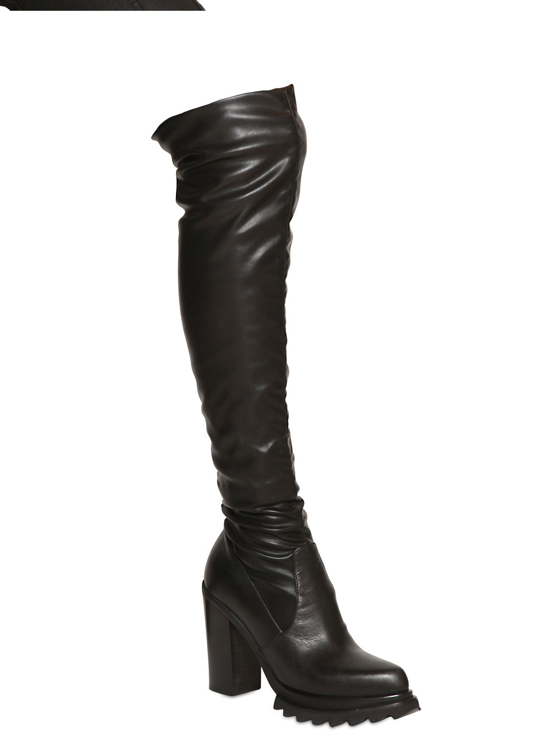 strategia 100mm stretch faux leather boots in black lyst