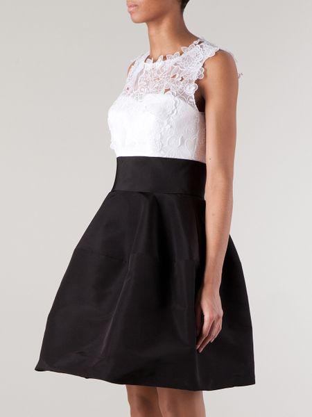Oscar De La Renta Lace Top Dress In Black Lyst