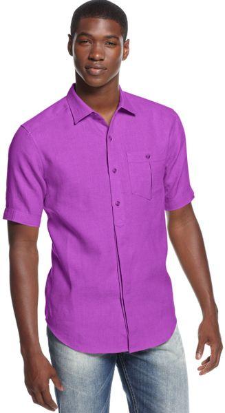 Sean john big and tall solid woven linen shirt in purple for Big and tall purple dress shirts