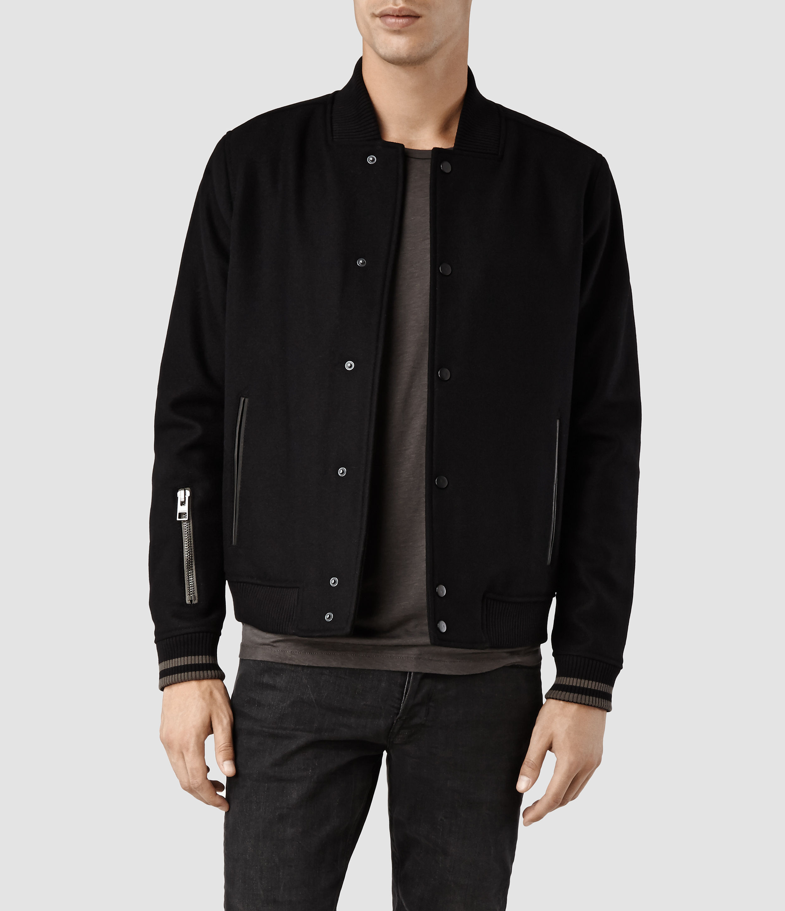 Allsaints Meron Bomber Jacket in Black for Men | Lyst