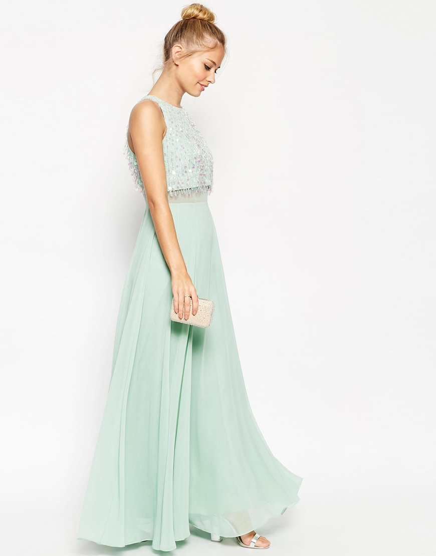 Lyst Asos Crop Top Maxi Dress With Sequin Droplets In Green