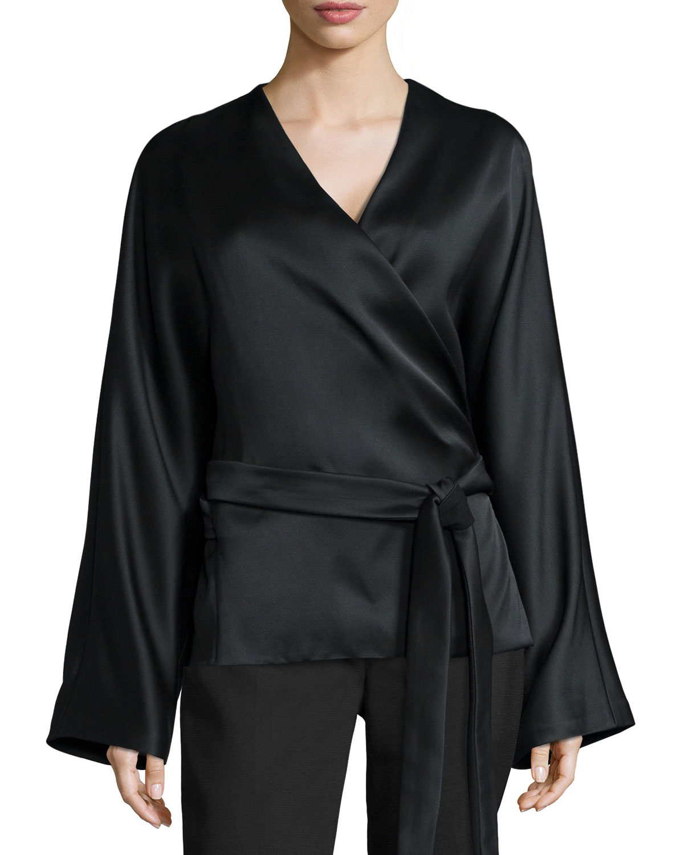 Lyst The Row Haki Satin Kimono Sleeve Top In Black