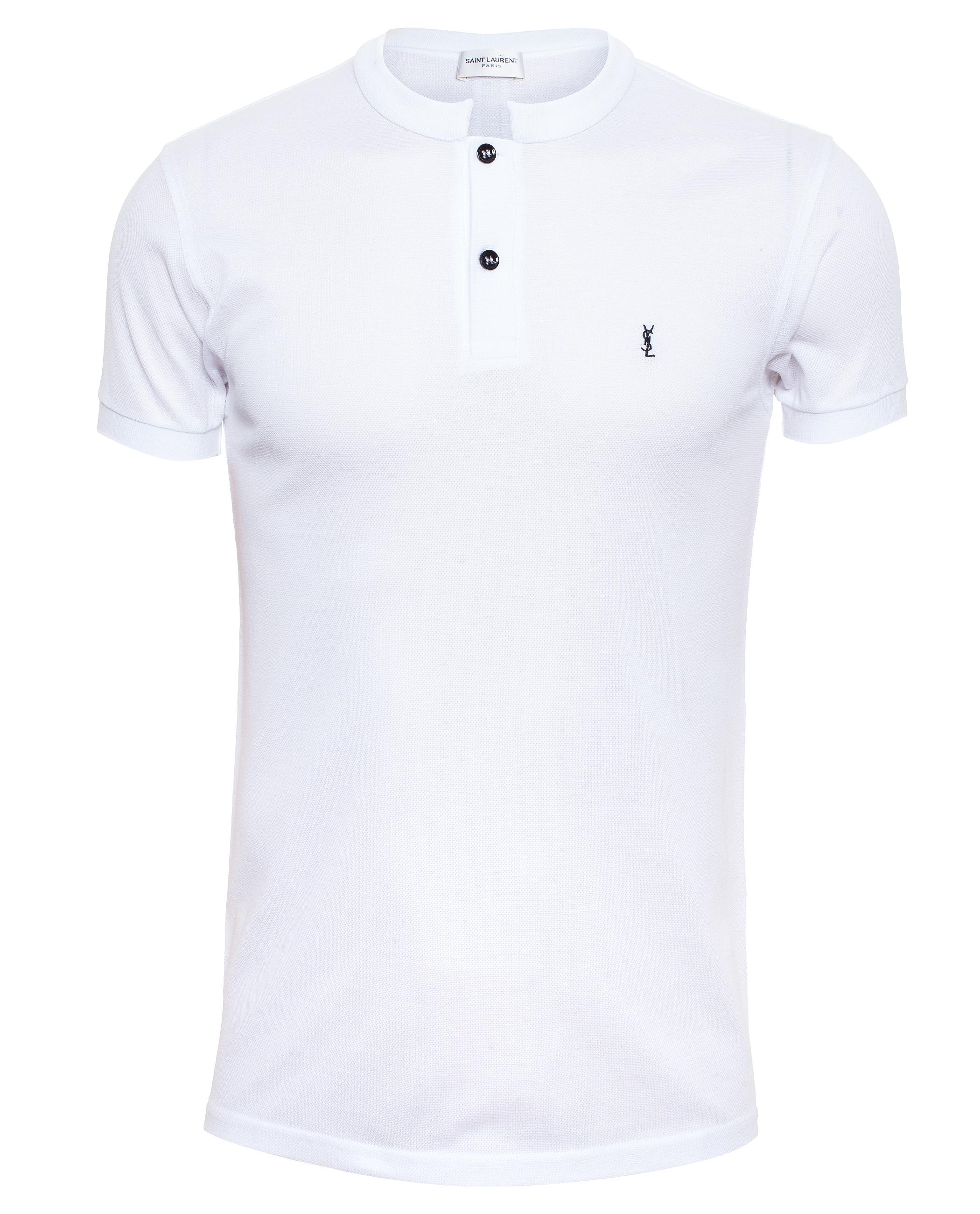 0ea8c9d9decfa5 Lyst - Saint Laurent Cotton Pique Polo Shirt in White for Men
