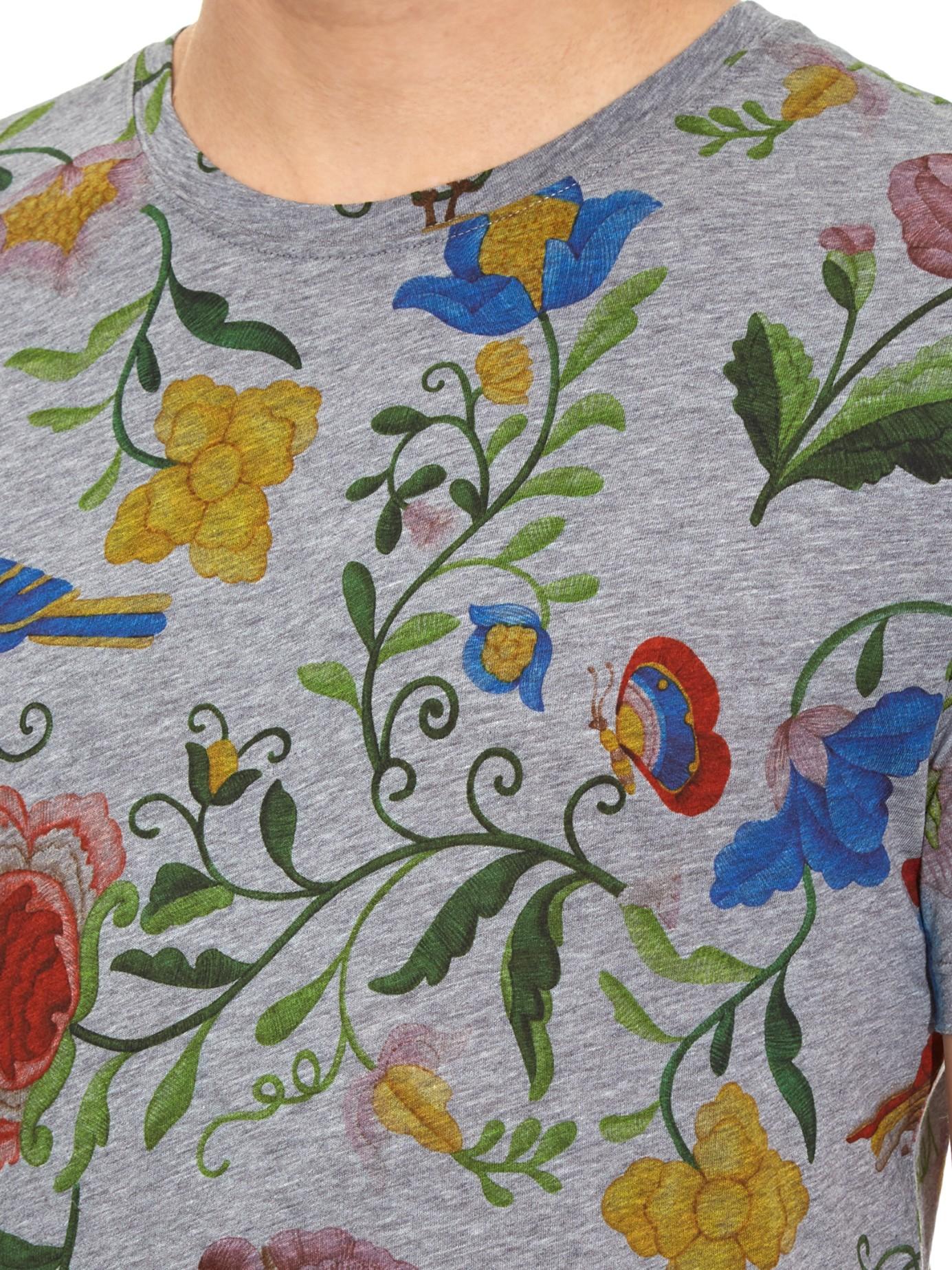 1e2bcaf15cb Lyst - Gucci Floral-print Cotton T-shirt for Men