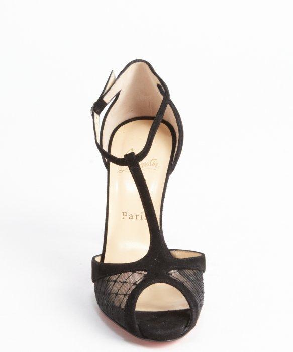 Artesur ? christian louboutin peep-toe wedges Black leather mesh ...
