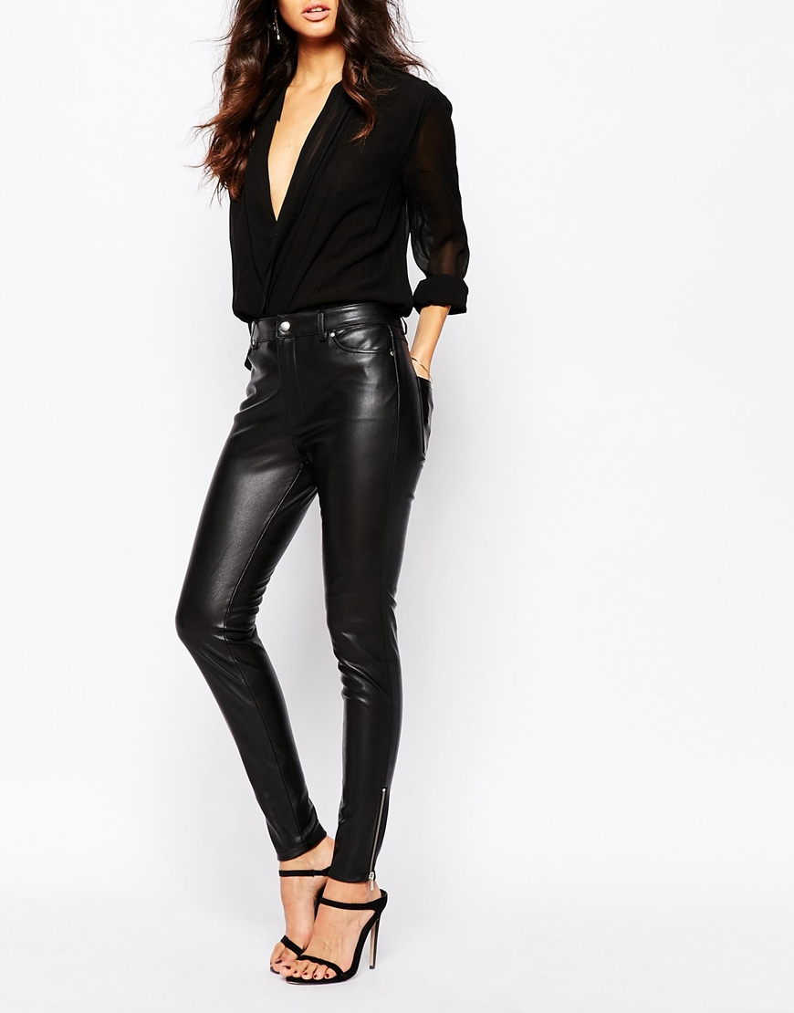 Mango Leather Look Pants In Black Lyst