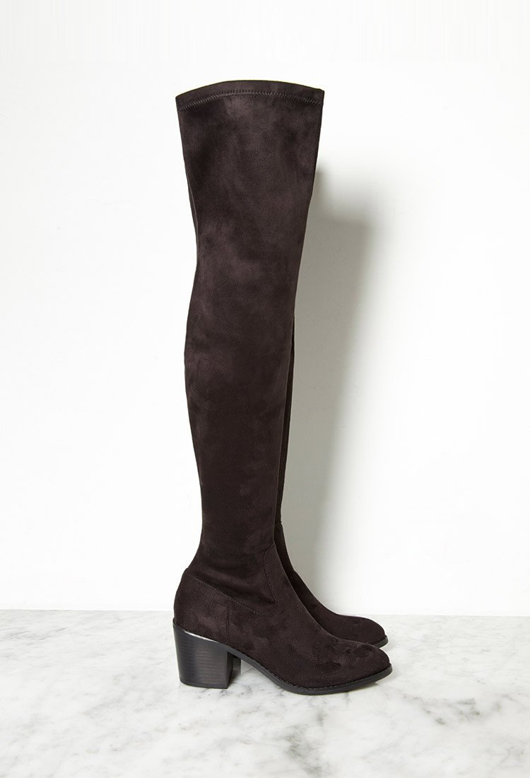 forever 21 thigh high faux suede boots in black lyst