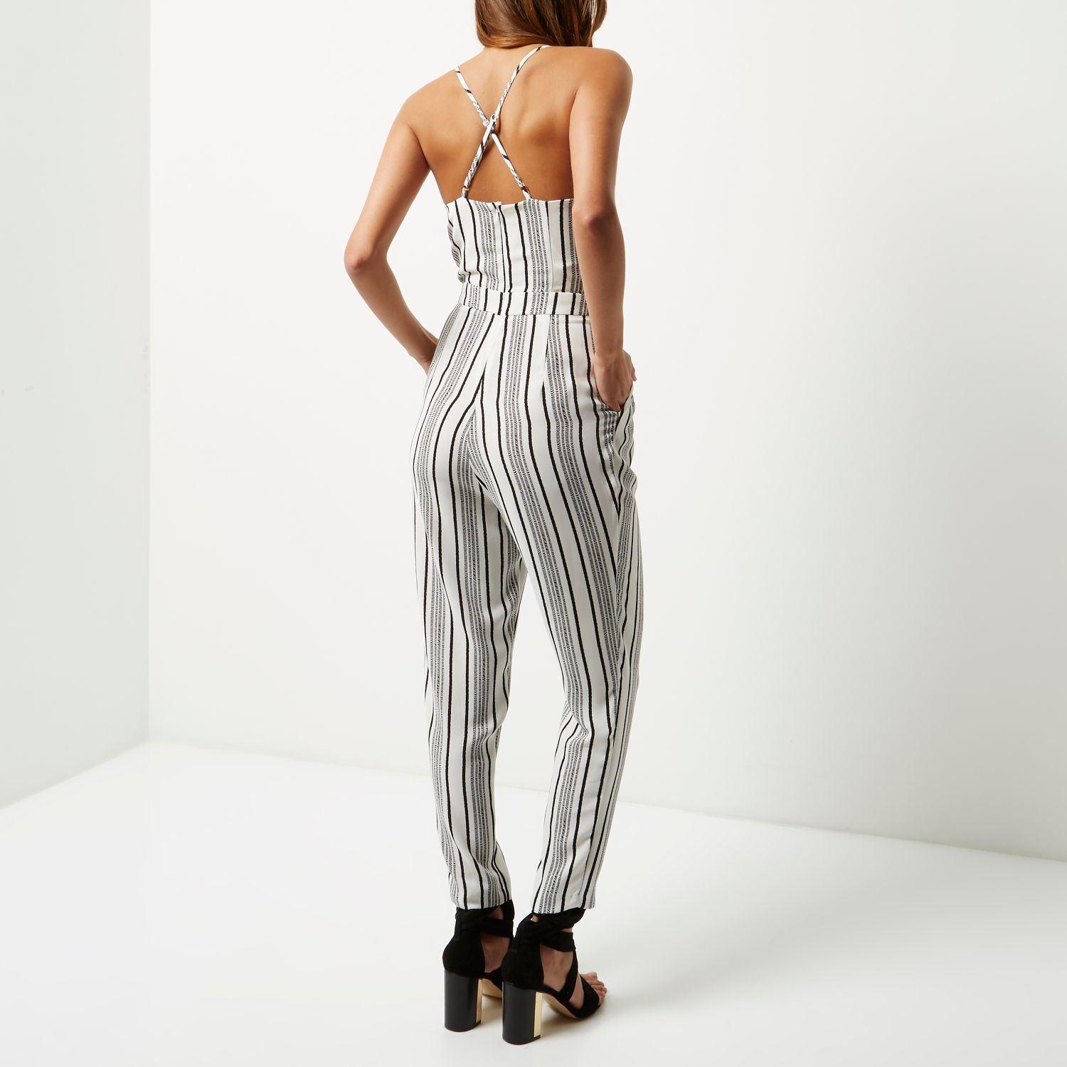 River Island Synthetic White Stripe Tapered Jumpsuit Lyst